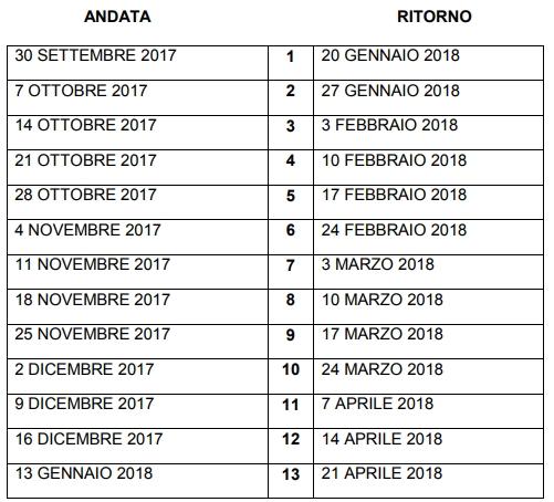 Calendario Juniores Regionali.1 Luglio 2017 Calendario Juniores Regionale